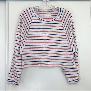 American Eagle Cropped Pullover Stripe Sweater